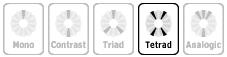 Кнопка «Tetrad» в перечне моделей цветовых схем