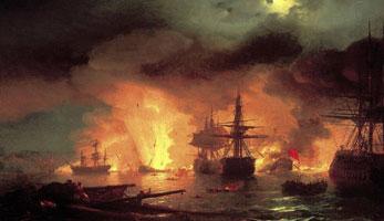 Чесменский бой в ночь с 25 на 26 июня 1770 года (И.К. Айвазовский)