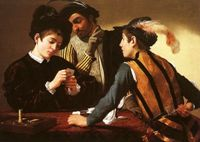 "Караваджо. Картина ""Шулеры"". 1596 год"