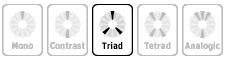 Кнопка «Triad» в перечне моделей цветовых схем